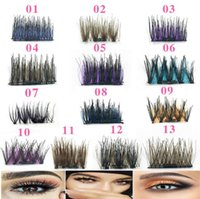 Wholesale colorful hair colors - 13 Colors Set Colorful Magnetic Eye Lashes D Resuable Magnetic Eye Lashes Colorful False Eyelashes Extension CCA9469 set