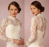 Wholesale Bride White Long Sleeve Shawl - Elegant White Ivory Lace Button Long Sleeve High Neck Upper Body Bride Jacket Shawl Accessories Custom size