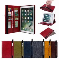 Wholesale china tablet stylus for sale - Group buy Retro Multi Cards Wallet Leather Case For Ipad Air th th Pro Pro Mini Tablet Stylus Pen Pocket Cover