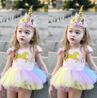 Wholesale girls princess tutu romper resale online - Newborn Baby Girls Unicorn Lace Tutu Romper Fancy Dress Outfits Kids Mini Dress Summer ruffles Sleeveless Princess Romper dress KKA4418