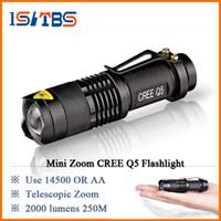 linterna ultrafire cree aa al por mayor-2018 CREE Q5 LED Mini linterna led linterna cree linterna Zoom 2000 lúmenes impermeable 14500 batería recargable O AA