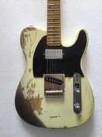 ingrosso corpi di chitarra invecchiati-Trasporto liberoBuona qualità Relic TL chitarra elettrica in ottone selle hardware invecchiato humbucker neck pickups corpo ASH
