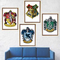 Wholesale wallpaper mirrored wall for sale - Group buy Wall Stickers Gryffindor Ravenclaw Hufflepuff slytherin poster magic College Wallpaper room wall Decoration