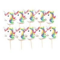 Wholesale Theme Party Supplies Wholesale - Unicorns Horse Theme Party Supplies Cupcake Toppers 24pcs lot Wedding Decoration Baby Shower Birthday Party Supplies Cake Baking BBA112