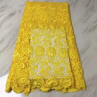 sarı guipure dantel kumaş toptan satış-Yüksek kaliteli afrika dantel kumaşlar gipür dantel kumaşlar kordon örnekleri, afrika Sarı kordon dantel