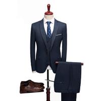 mens gelinlik lacivert toptan satış-2019 mens balo lacivert erkek takım elbise için uygun elbise esmoquin hombre boda mens parti takım elbise için gelinlik damat