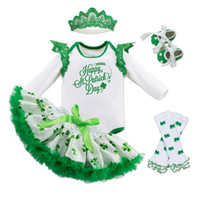 Wholesale Toddler Girl Romper Long Leg - St,Patrick'S Day Outfits Baby Girls Clothes Long Sleeve Romper+Green Clover Printed Skirt+Legging Warmers+Green Toddler Shoes+Crown 5Pcs Set