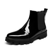 bota elástica de plataforma bota al por mayor-Otoño Patente elástico hombres clásicos botas del tobillo del remiendo del cuero del invierno patea los zapatos de plataforma caliente los hombres del tamaño 38-44 daliy