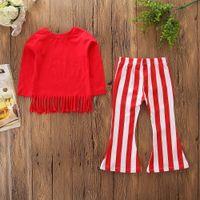 красная детская обувь оптовых-Новорожденных девочек устанавливает дети Красный кисточкой длинные Seleeve футболки + красный белый полосатый клеш загрузки 2 шт. набор мода весна осень наряды одежда