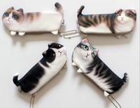 kedi mektubu kalemleri toptan satış-Popüler Kawaii Yenilik Simülasyon Karikatür Kedi Kalem Kutusu Yumuşak bez Kız Erkek Öğrenci için Okul Kırtasiye Kalem Çantası Hediye