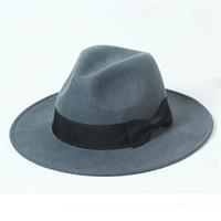 chapéu de aba marrom venda por atacado-Homens Clássicos Aba Larga 7 cm de Lã Marrom Fedora Chapéus para a Primavera Queda de Inverno Mulheres Cinza De Lã Sentiu Fedoras Caps Atacado Agradável Mens Red Hat