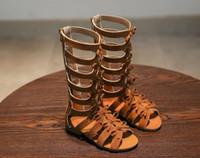 Wholesale fabric butterflies - 2018 summer children's sandals, girls' boots, high-heeled Roman shoes, black butterflies, students' shoes