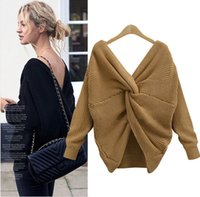 backless sweater long sleeve 2018 - 2017 Women Sexy V Neck Twisted Back Jumpers Backless Cross Long Sleeve Knitted Pullovers Sweaters Pull Femme