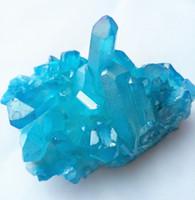 bastón de leopardo al por mayor-85 g natural azul aura ángel cristal racimo cuarzo cristal racimo reiki cristales curativos envío gratis