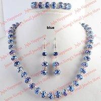 одно серьги ожерелье серьги оптовых-one set Handmade Blue Crystal Glass  Jewelry Set Necklace,Earring and Bracelet 235