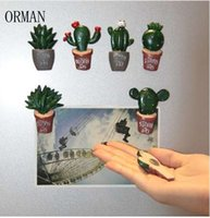 autocollants décoratifs achat en gros de-Mode Créative Cactus Plants Magnets Pour Réfrigérateur Kawaii Cute Plants Décoratifs Réfrigérateur Souvenir Autocollant Magnétique