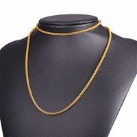 gold gefüllt 24k schmuck großhandel-24K Reales Gold füllte Halsketten für Mann-Frauen, die Art- und Weiseschmucksachen lang 2MM verkaufen, Großhandelship-Hopfen-Seil-Kubaner-Verbindungs-Kette heißer Verkauf FreeShipping