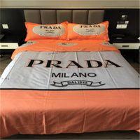 3d bedding set toptan satış-Sıcak Renkli Çarşaf Set Bahar ve Sonbahar Yatak Pamuk Ev Tekstili Mektubu Baskı Lüks Kraliyet Yatak Takım Elbise