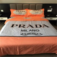 Hot selling Warm Colored Bed Sheet Set Spring and Autumn Bedroom Cotton Home Textiles Letter Print Luxury Royal Bedding Suit