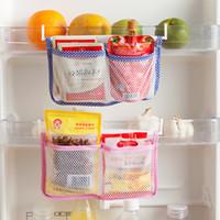 Wholesale plastic mesh bags - 1Pcs New Kitchen Refrigerator Hanging Storage Bag Food Organizer Fridge Mesh Holder Hooks Save Space Storage Bags