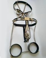 ingrosso spina di castità maschile di schiavitù-Dispositivi di castità maschili Completi da uomo Cintura di castità a forma di T + Polsini della coscia + Plug anale + Tubo catetere + Reggiseno di castità Bondage Giocattoli erotici