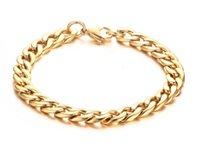 18k gold bordstein link armband großhandel-Kostenloser Versand Mens Edelstahl Panzerkette Armband, Vergoldet, 21,5 cm