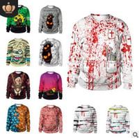 смешные печатные платья оптовых-Кофты пара m-xxl Хэллоуин костюм новый горячий шею свитер партии одеваются уличные костюмы смешно весело печати топ кофты