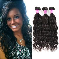 Wholesale malaysian curly wavy hair for sale - Group buy Brazilian Water Waves Natural Weaving Hair b Brazilian Natural Curly Weave Virgin Remy Hair Extensions Cheap Natural Wavy Weave Hair Weft