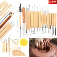 Wholesale pottery tool set - Wooden Clay Sculpting Tools Suit 42Pcs Pottery Carving Tool Set DIY Artistic Drawing Set Factory Direct Sale 55bm CB