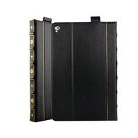 старинные кожаные обложки для книг оптовых-Ретро книга стиль кожаный бумажник Case для Apple Ipad Pro 10.5 дюймов 12.7 дюймов 2017 2016 древний старинные старый флип Kickstand слот для карты кожи обложка