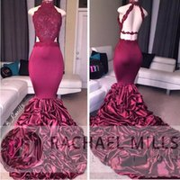 Wholesale Ruffled Evening Gowns - Burgundy Mermaid Long Prom Dresses 2018 African Lace Appliqued Open Back Sequins Ruffled Sweep Train Arabic Evening Party Gowns