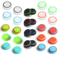 Wholesale xbox one grip thumb online - Dual Color Silicone Joystick Cap Thumb Grip Stick Grips Caps Case For PS4 PS3 Xbox one WiiU Controller DHL FEDEX EMS