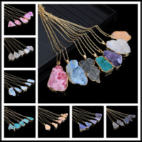 Wholesale natural pearl necklaces online - 7 Colors Crystal Quartz Healing Point Chakra Bead Necklace Pendant Original Natural Gemstone Pendant Choker Energy Keeping Jewelry Chains