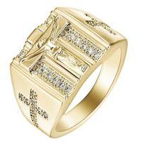 anéis da cruz do ouro dos homens venda por atacado-Elegante Mens Aço Inoxidável 18 K Banhado A Ouro Cruz Anel Cristão Branco Cubic Zirconia Jesus Anel, EUA tamanho 8-12 AD0937