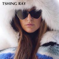arrow fashion sunglasses 2018 - TSHING RAY Fashion Cat Eye Sunglasses Women Ladies Arrow Brand Design Semi-Rimless Eyeglasses  Gradient Sun Glasses Mirror