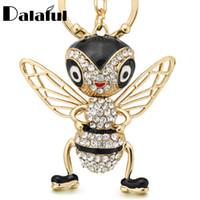 769f86c8227c Nueva Moda Crystal Bee Llaveros Llaveros Esmalte Trinket Insectos Creativos  Llavero Cadena del anillo para Las Mujeres Bolsa de Regalo de La Joyería ...