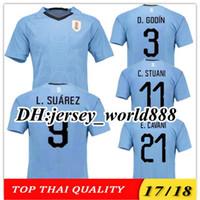Wholesale Uruguay Soccer - TOP QUALITY 2018 World Cup Uruguay blue Home Soccer Jersey Suarez Edison Cavani Forlan Godin Uruguai 17 18 away Football shirt