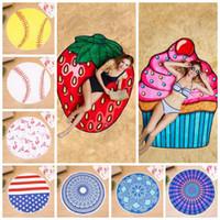 Wholesale round polyester scarf online - Fruit Flamingo Beach Towel Hamburger Ice Cream Softball Shower Towel Bath Sunscreen Printing Shawl Scarf LJJO4381