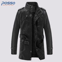 Wholesale trench coat couple - Fashion leather trench coat men long leather jacket outwear couple men's motorcycle jacket waterproof fur