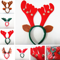 Wholesale reindeer head resale online - christmas Reindeer antler Hairband Bell Deer Horn headbands Ear head Hoops Halloween Party festival Decorations adult kids children wear