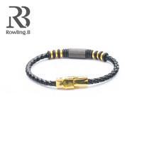 лучшие украшения из нержавеющей стали оптовых-Punk Leather Bracelets Black Gold Stainless Steel  Charm Bracelets for Men&Women Fashion Jewelry Best Gifts