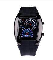 medidor de turbo al por mayor-Aviación Turbo Dial Flash LED Reloj de regalo Mens Señora Sports Car Meter Vestido de acero inoxidable Relojes de pulsera