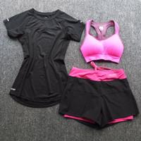 Wholesale white sports bra shorts resale online - NEW women sports sets GYM Fitness Sportswear Yoga T shirts strech Reflective short sleeved sports bras running shorts sets