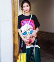dondurma etekleri toptan satış-Tayland Gelgit Marka Gevşek Elbise Dondurma Gözler Kadınlar Baskı Şerit Etek Ruffled Yuvarlak Yaka Ekleme Pilili Etek