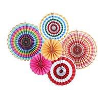 цветочные шарики для свадебных украшений оптовых-6pcs / set небольшие ткани бумажные вентиляторы цветы DIY Craft висячие маленький цветок свадьба украшения помпон шары круглые фонари