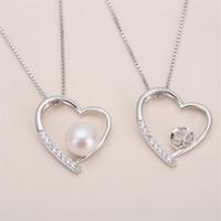 collar colgante de montaje al por mayor-La mejor oferta de colgante de plata de ley maciza de circón, montaje colgante de patrón de corazón, collar en blanco para perla, joyería de bricolaje, regalo de bricolaje