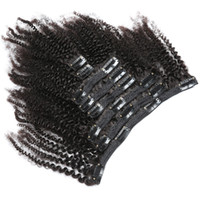 Wholesale natural afro hair products resale online - Afro kinky curly Russian clip in hair extensions natural black c a b c clip human hair Rainbow queen Hair products