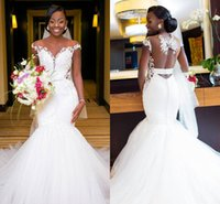 Wholesale short sleeve open back wedding dress online - Arabic African White Mermaid Wedding Dresses Sheer Neck Cap Sleeves Sexy Open Back Tulle Bridal Gowns Lace Wedding Gowns