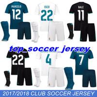 Wholesale Flash Football - 2018 2017 Real Madrid Home AWAY Soccer Jersey Kit socks 17 18 third blue soccer shirt Ronaldo Bale Football uniforms Asensio SERGIO RAMOS
