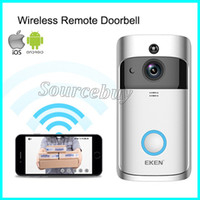 Wholesale door bell camera intercom for sale - Wireless WIFI Video Door Phone Doorbel Intercom EKEN Video Bell System Night Vision Outdoor Camera with Microphone Speaker HD P Silver